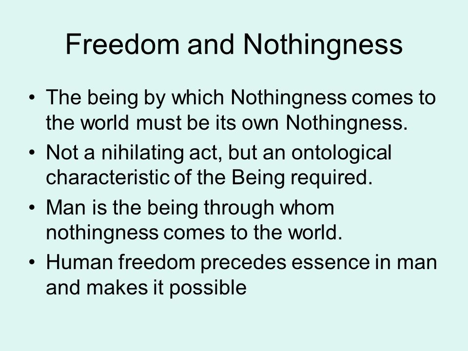 Freedom and Nothingness