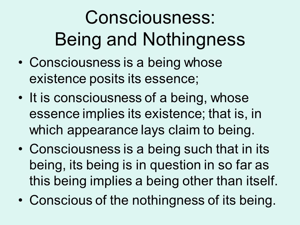 Consciousness: Being and Nothingness