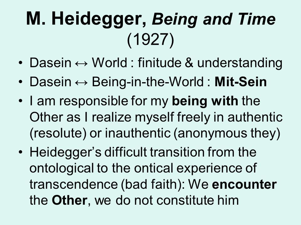 M. Heidegger, Being and Time (1927)