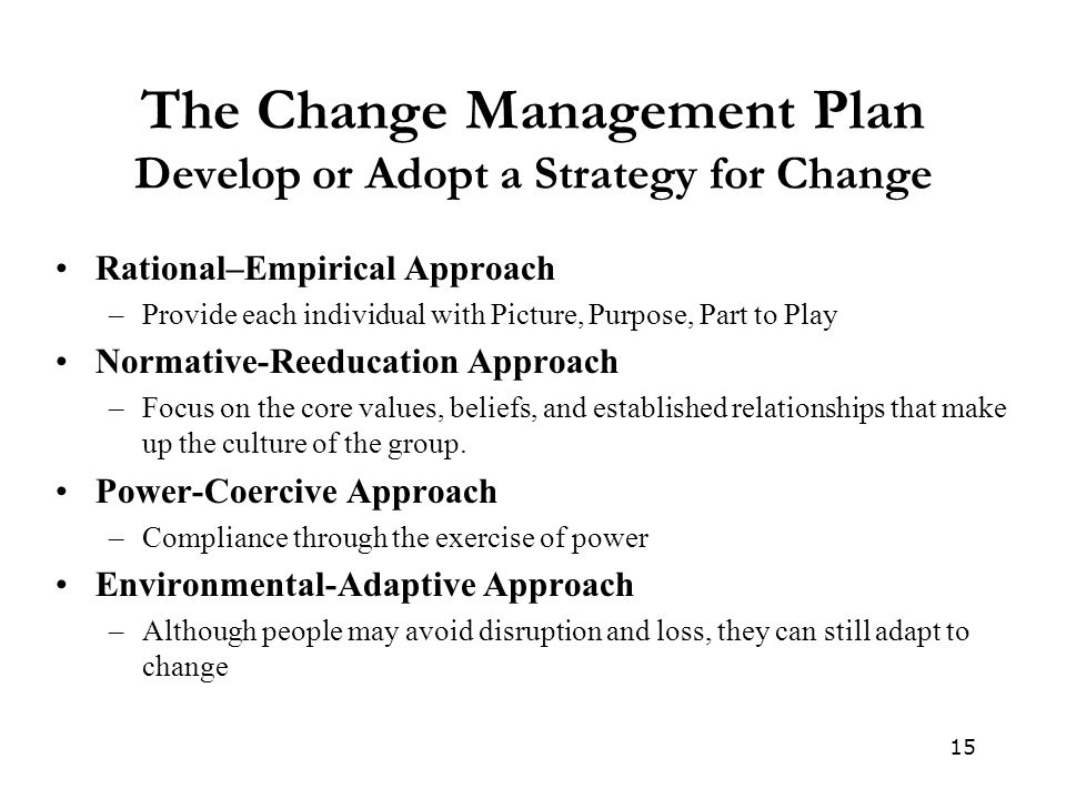 The Change Management Plan Develop or Adopt a Strategy for Change