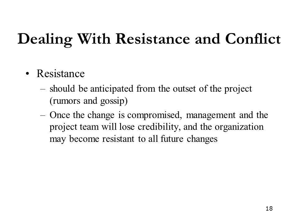 Dealing With Resistance and Conflict