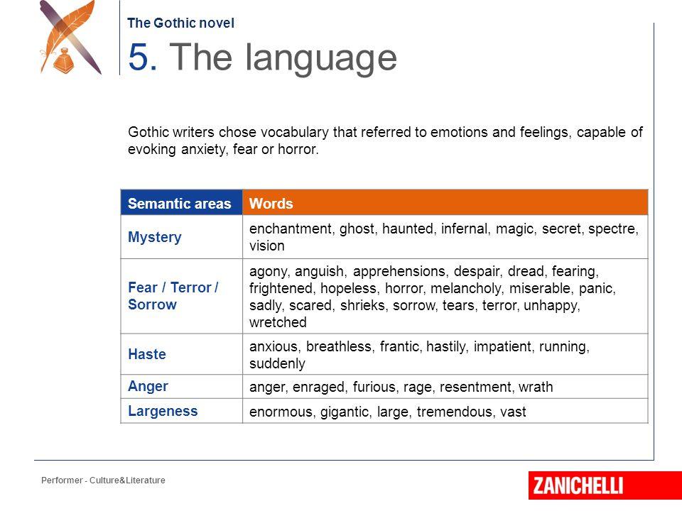 The Gothic novel 5. The language.