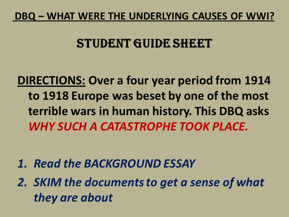 dbq: causes of wwii essay 2012-9-5  name_____ date_____ dbq 21: causes of world war ii (adapted from document-based assessment for global history, walch education.