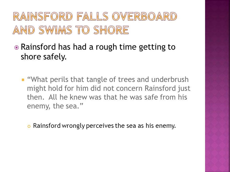 Rainsford falls overboard and swims to shore