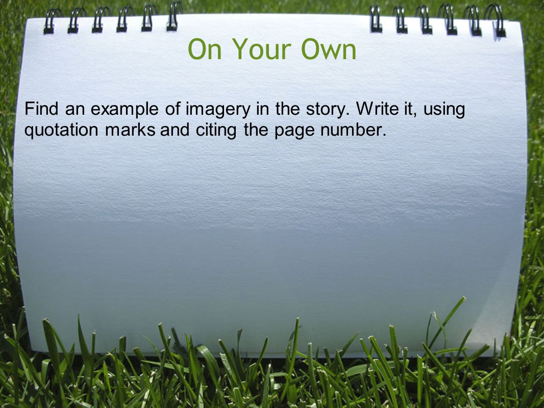 On Your Own Find an example of imagery in the story.