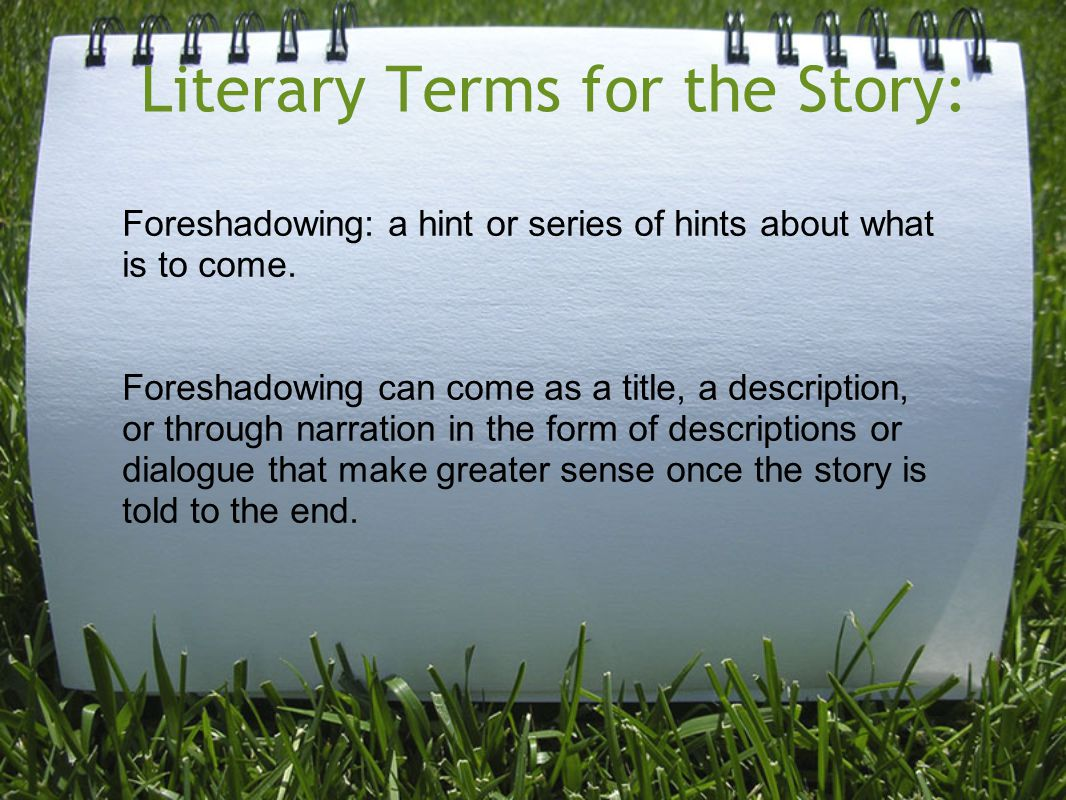 Literary Terms for the Story: