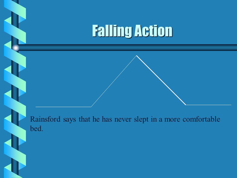 Falling Action Rainsford says that he has never slept in a more comfortable bed.