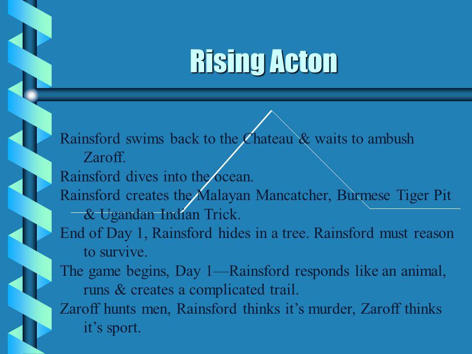 Rising Acton Rainsford swims back to the Chateau & waits to ambush Zaroff. Rainsford dives into the ocean.