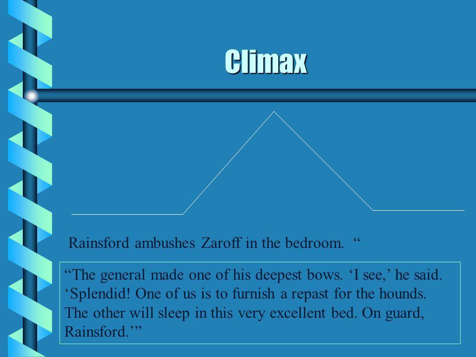 Climax Rainsford ambushes Zaroff in the bedroom.