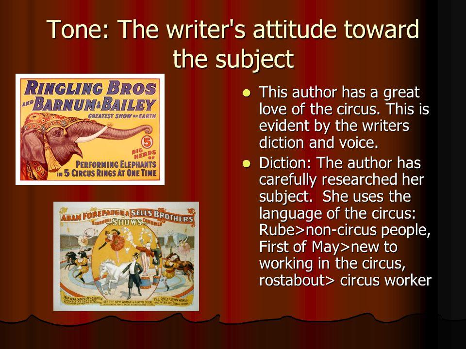 Tone: The writer s attitude toward the subject