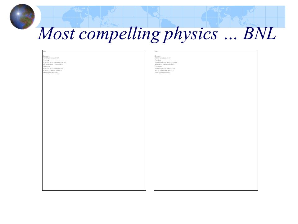 Most compelling physics … BNL