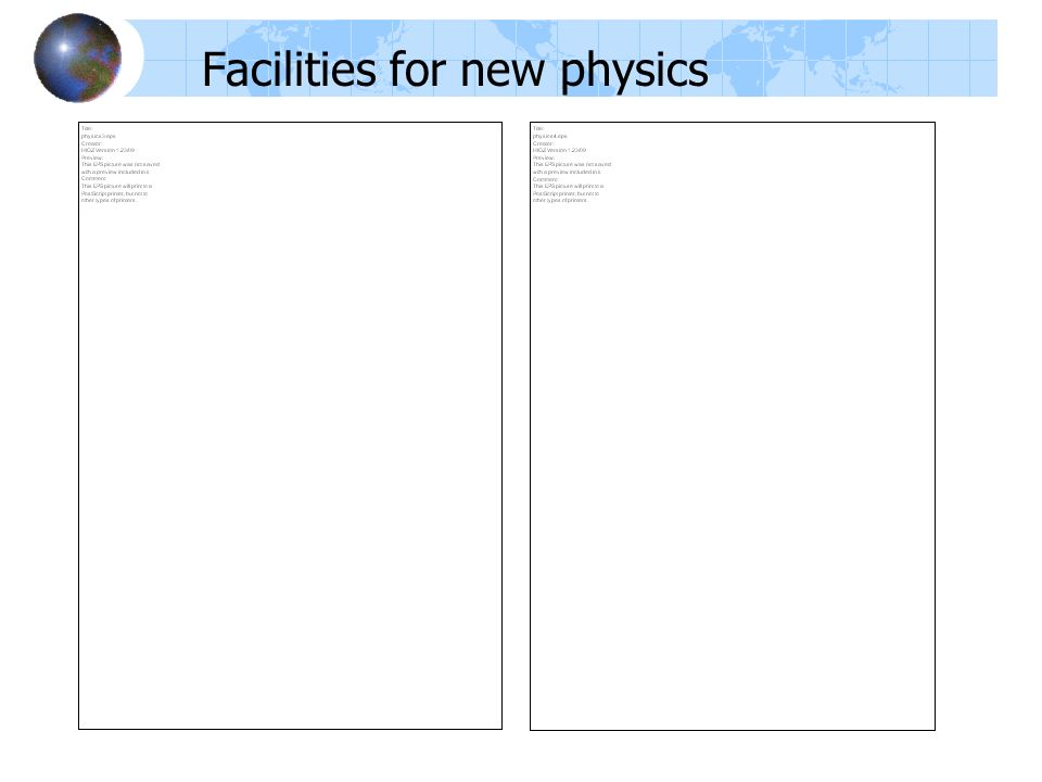 Facilities for new physics