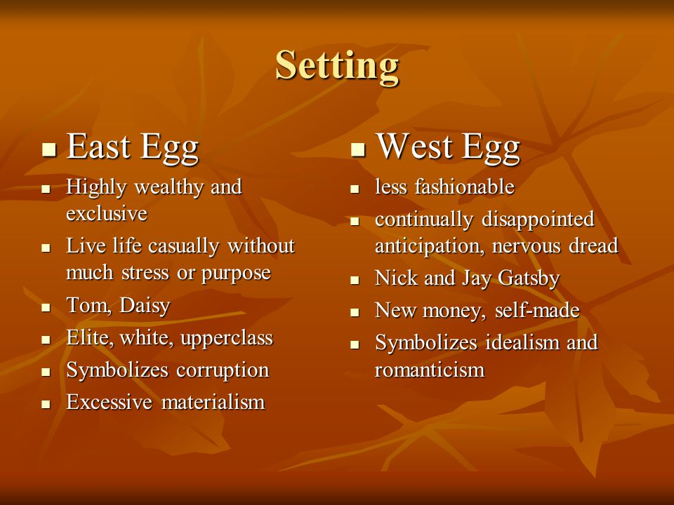 Setting East Egg West Egg Highly wealthy and exclusive