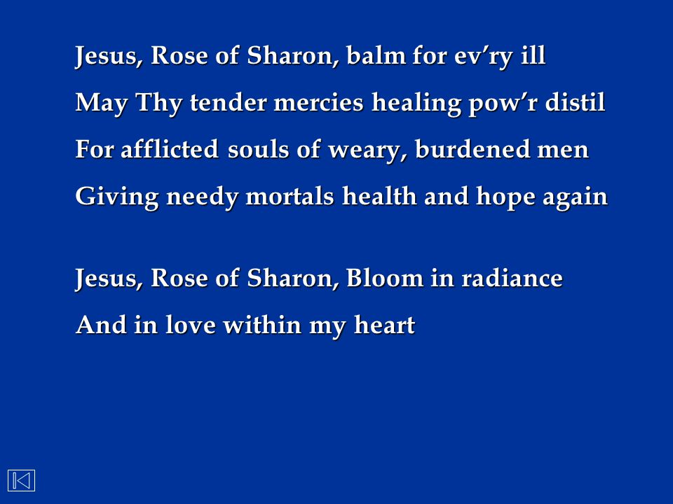Jesus, Rose of Sharon, balm for ev'ry ill