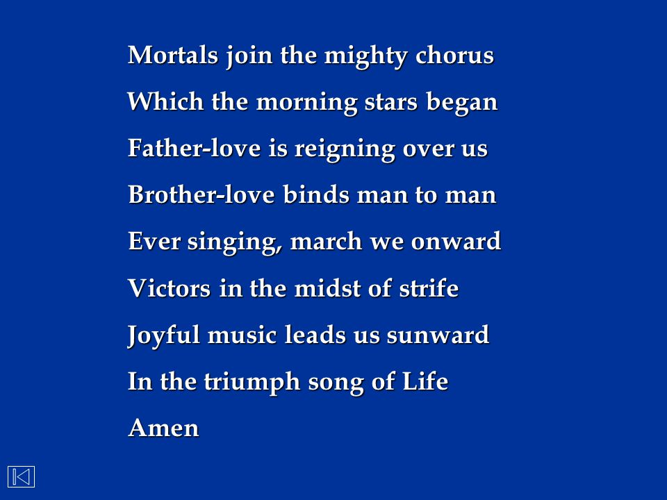 Mortals join the mighty chorus