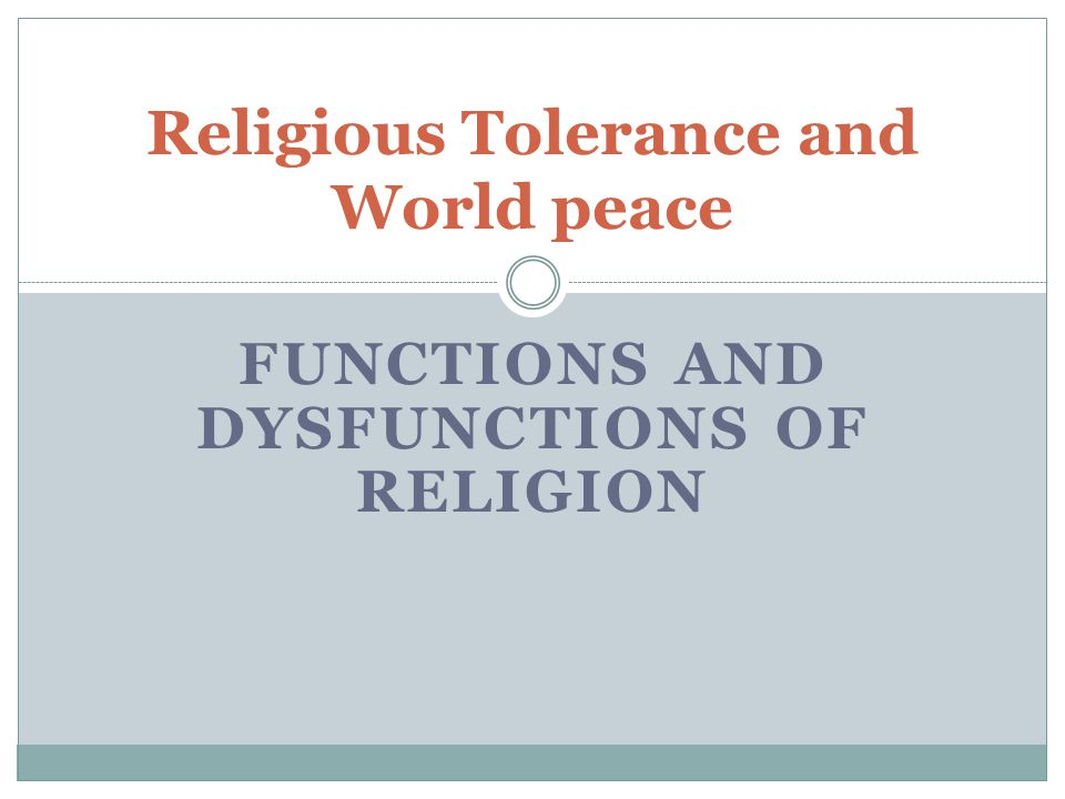 Religious Tolerance and World peace