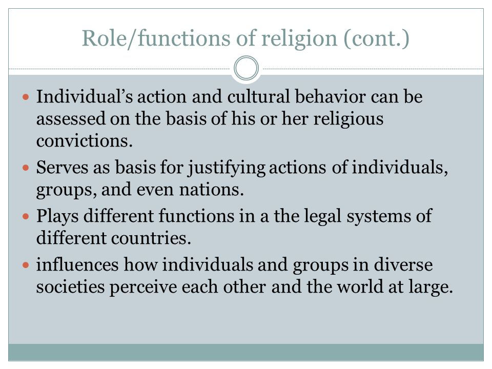 Role/functions of religion (cont.)