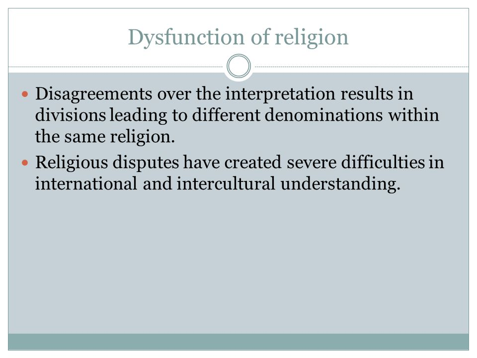 Dysfunction of religion