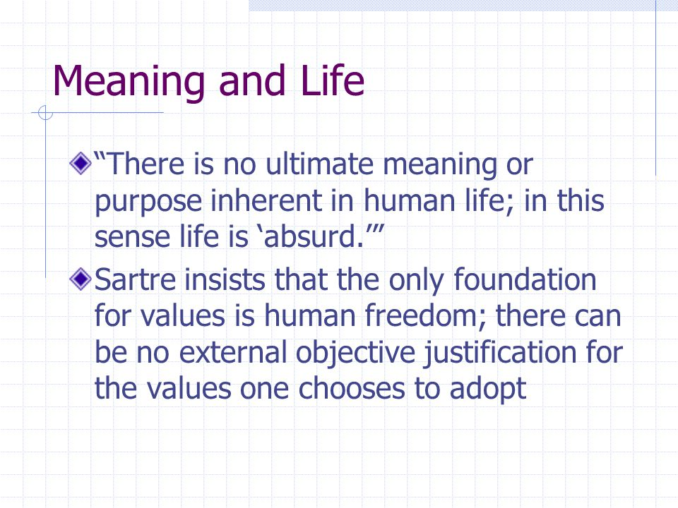 Meaning and Life There is no ultimate meaning or purpose inherent in human life; in this sense life is 'absurd.'