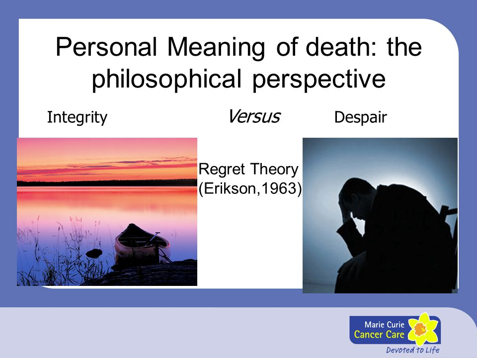 Personal Meaning of death: the philosophical perspective
