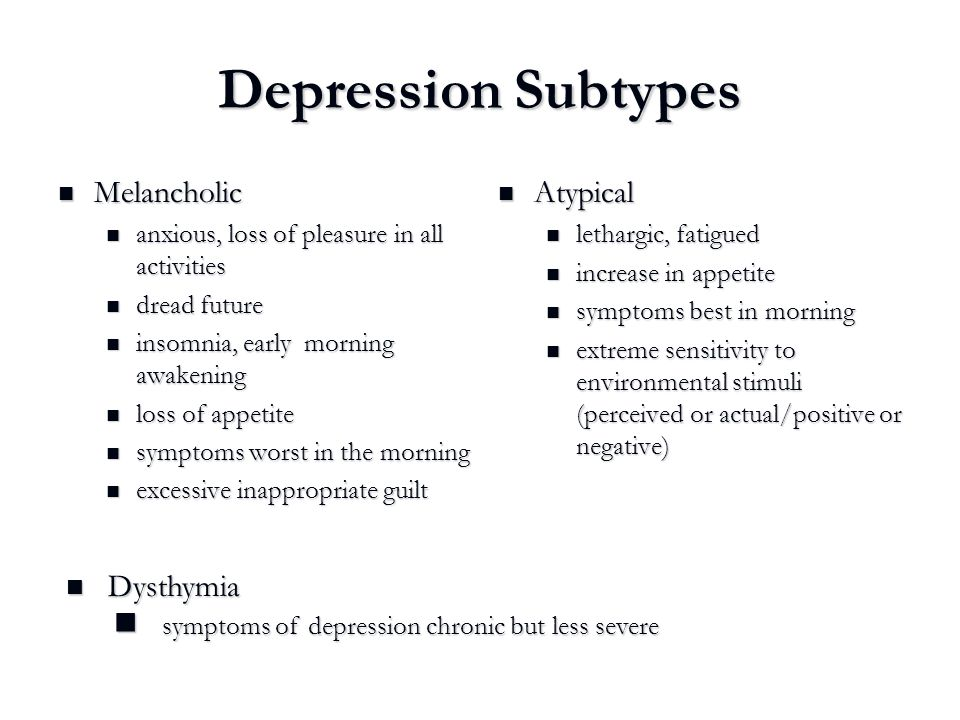 Depression Subtypes Melancholic Atypical