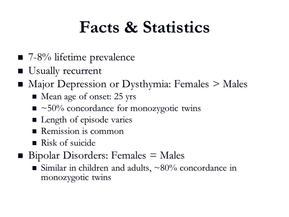 Facts & Statistics 7-8% lifetime prevalence Usually recurrent