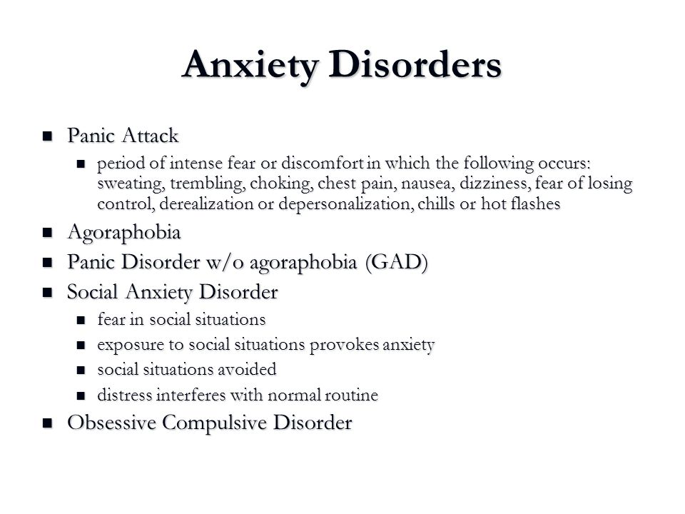 Anxiety Disorders Panic Attack Agoraphobia