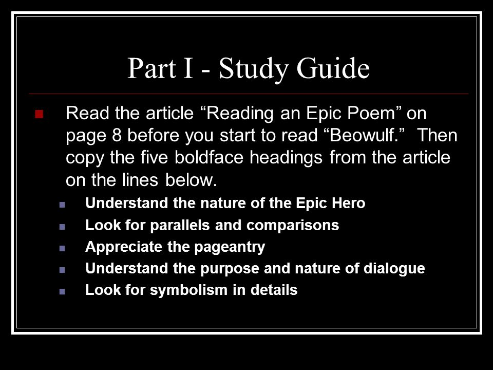 Part I - Study Guide