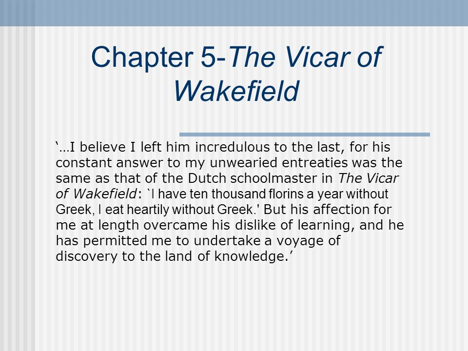 Chapter 5-The Vicar of Wakefield