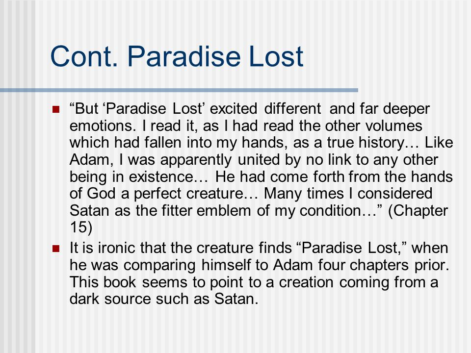 Cont. Paradise Lost