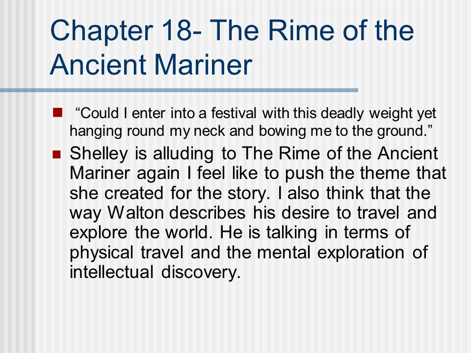 Chapter 18- The Rime of the Ancient Mariner
