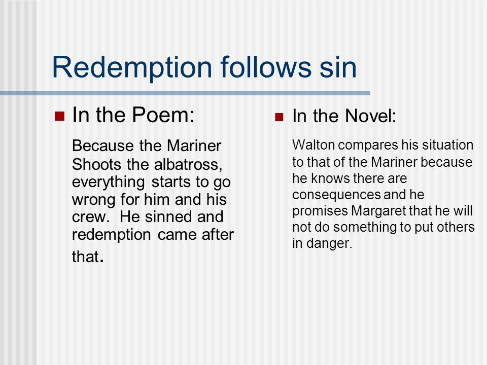 Redemption follows sin