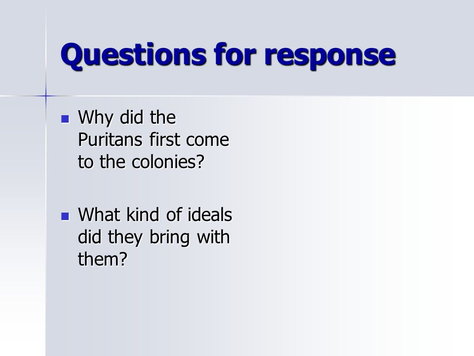 Questions for response