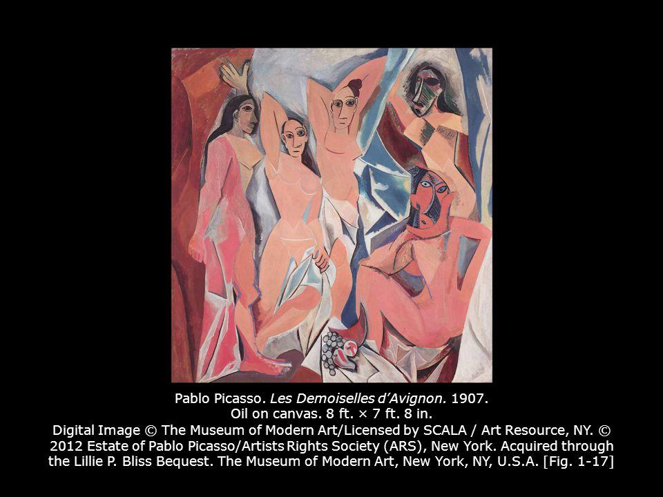 Pablo Picasso. Les Demoiselles d'Avignon. 1907. Oil on canvas. 8 ft
