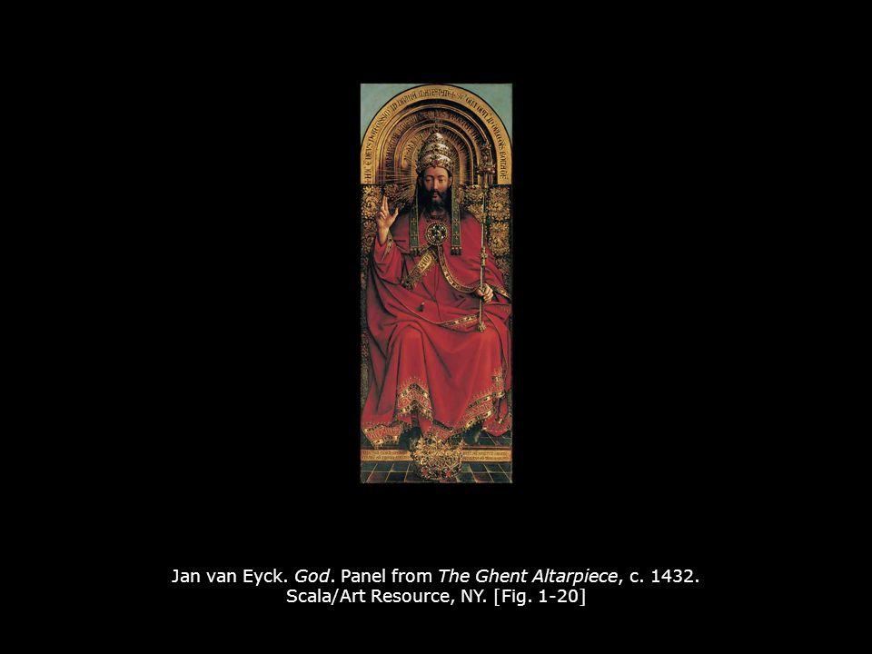 Jan van Eyck. God. Panel from The Ghent Altarpiece, c. 1432