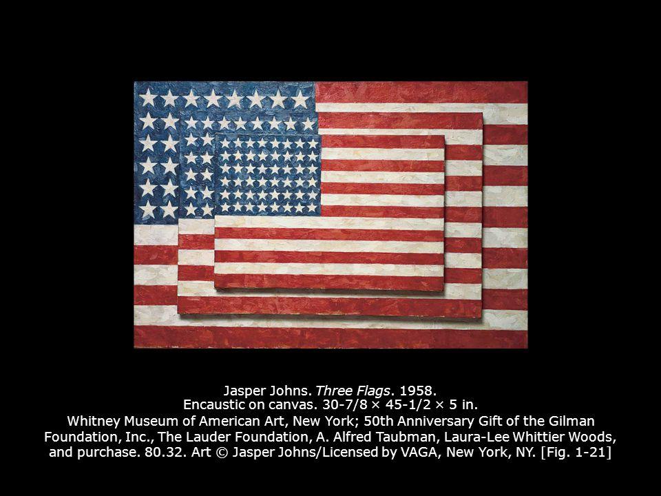 Jasper Johns. Three Flags. 1958. Encaustic on canvas