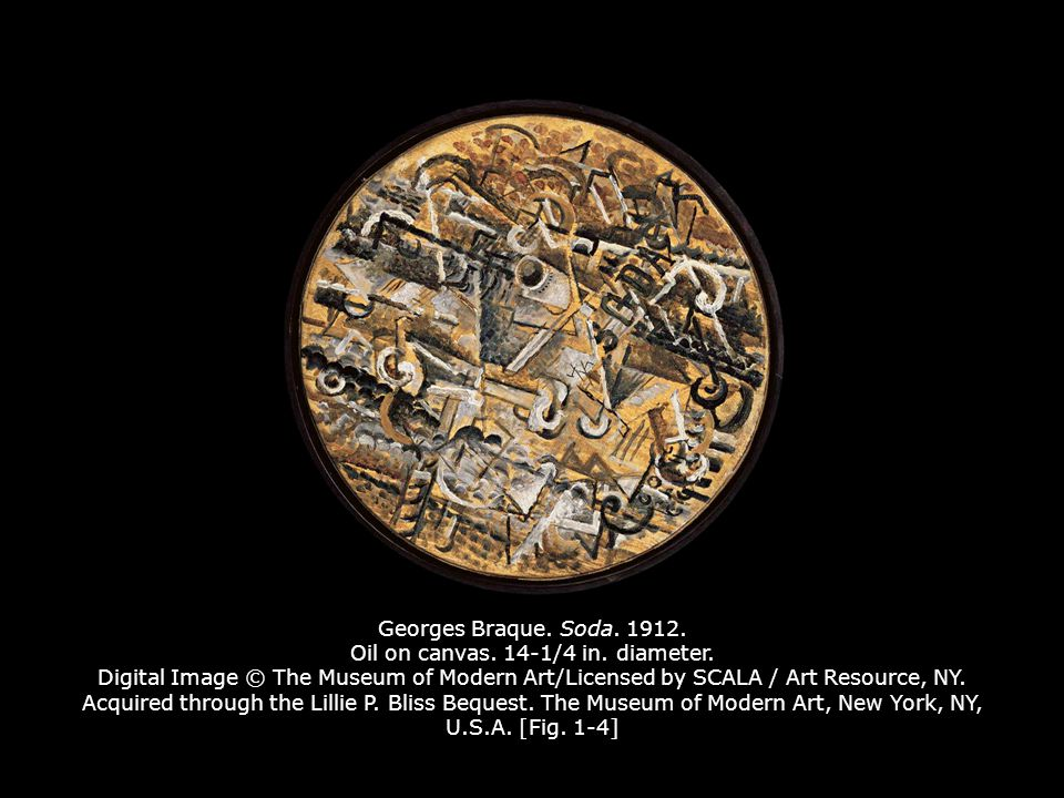 Georges Braque. Soda. 1912. Oil on canvas. 14-1/4 in. diameter
