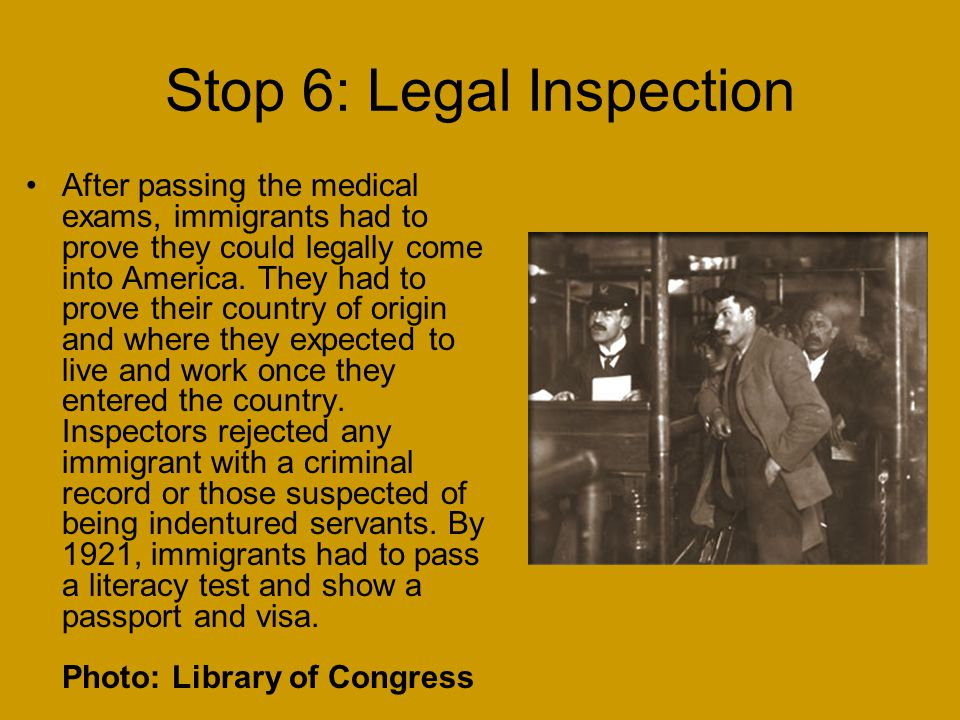 Stop 6: Legal Inspection