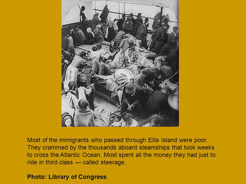 Most of the immigrants who passed through Ellis Island were poor