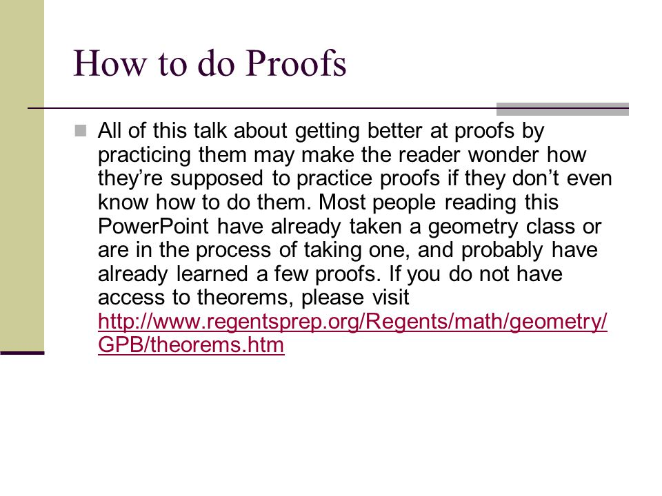 How to do Proofs