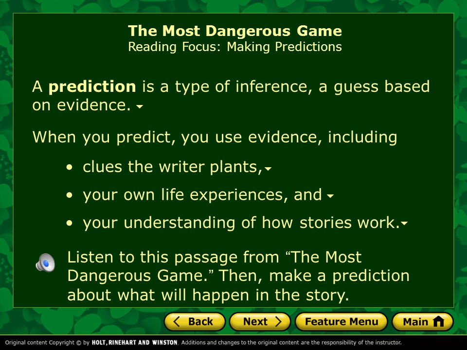 The Most Dangerous Game Reading Focus: Making Predictions