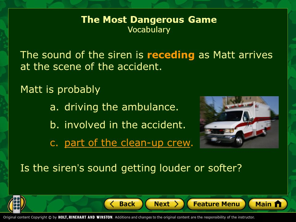 The Most Dangerous Game Vocabulary