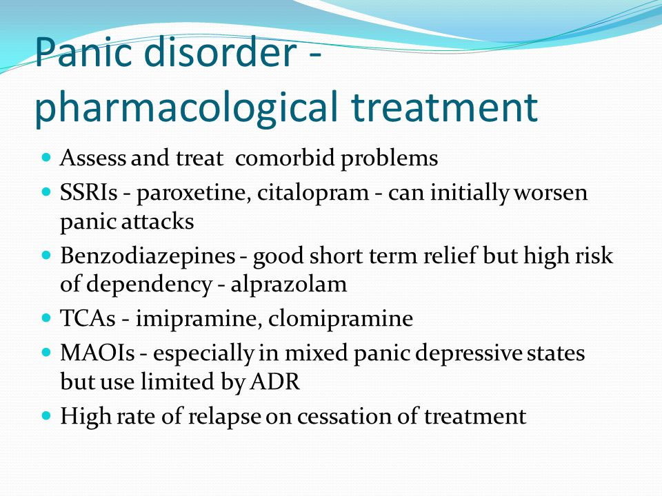 Panic disorder - pharmacological treatment