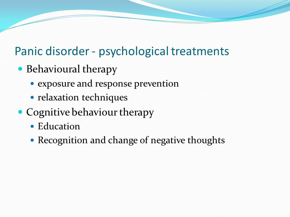 Panic disorder - psychological treatments