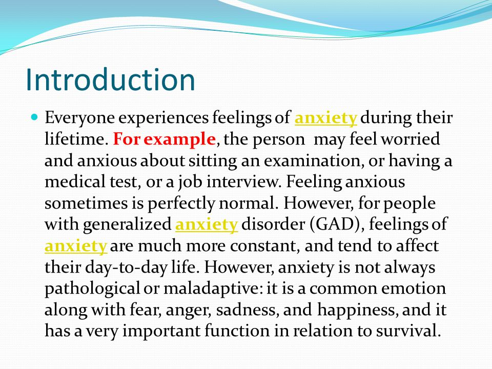 An examination of anxiety disorder