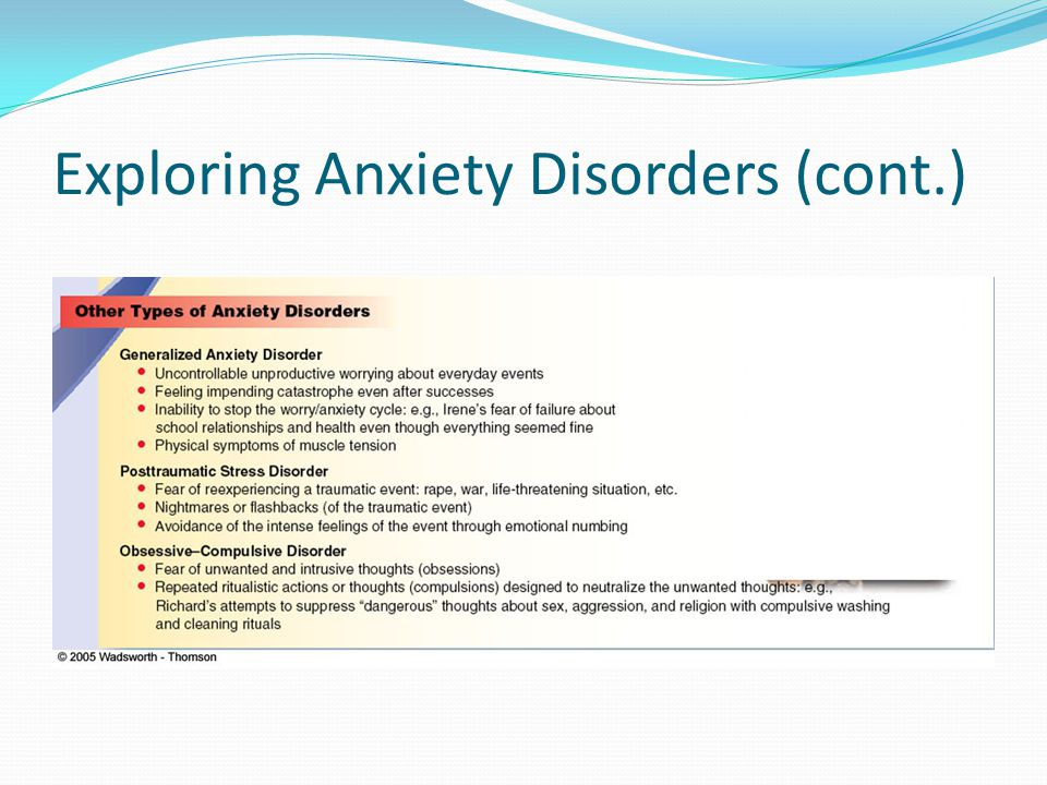 Exploring Anxiety Disorders (cont.)