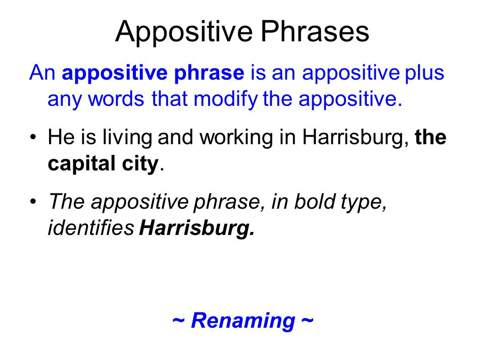 Appositive Phrases An appositive phrase is an appositive plus any words that modify the appositive.