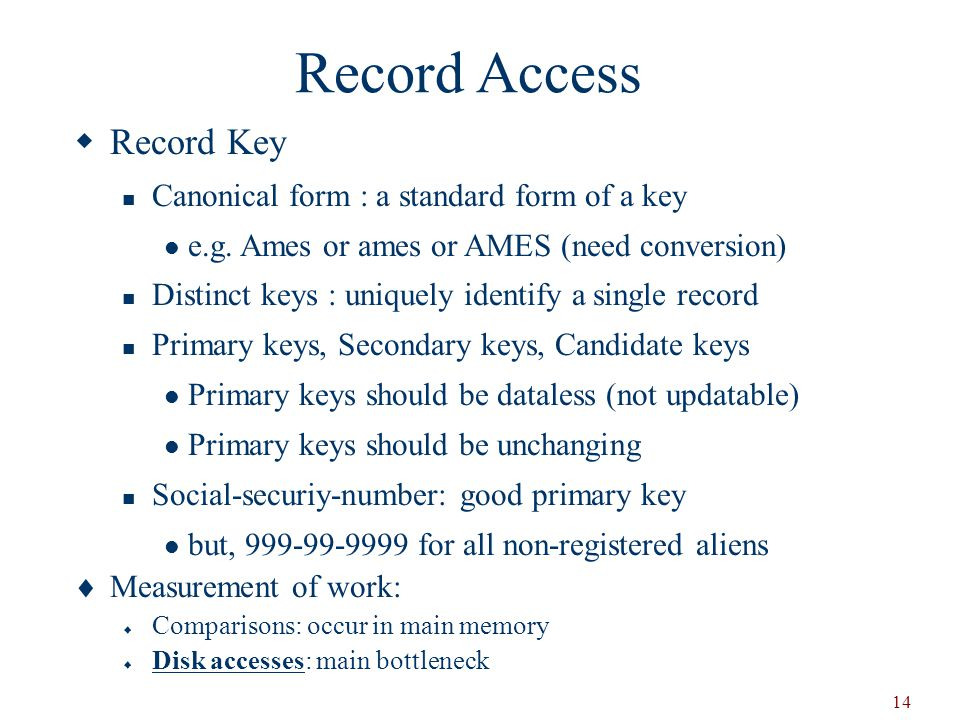 Record Access Record Key Canonical form : a standard form of a key