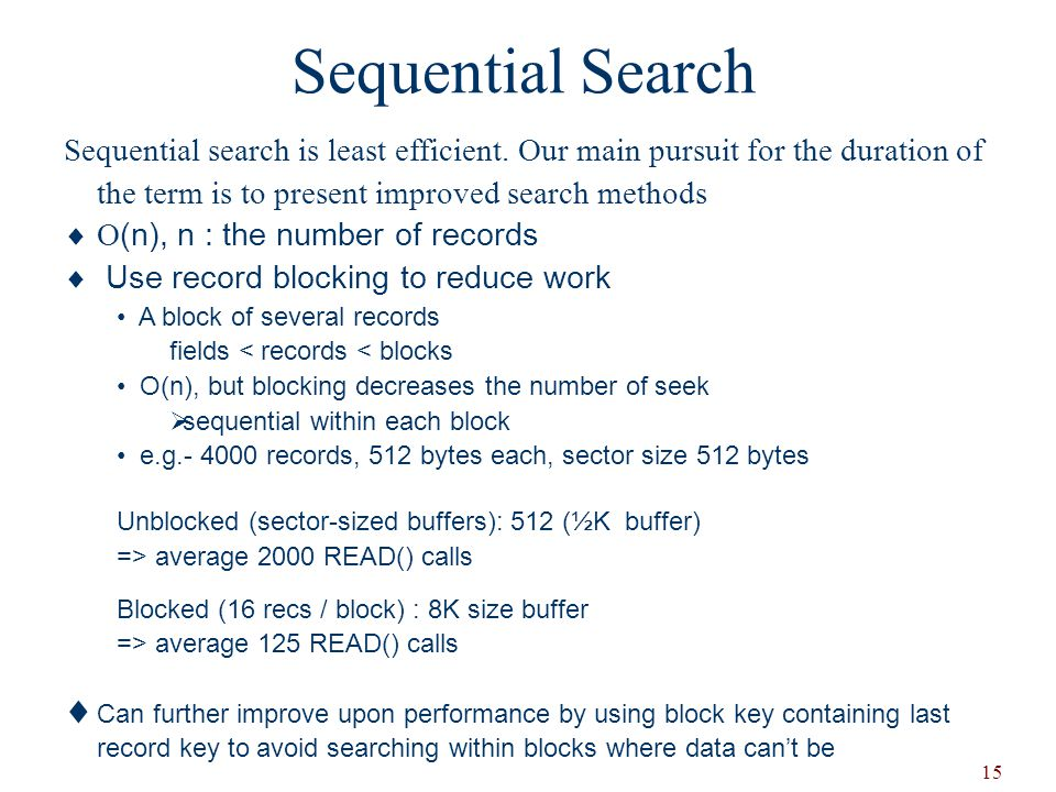Sequential Search Sequential search is least efficient. Our main pursuit for the duration of the term is to present improved search methods.