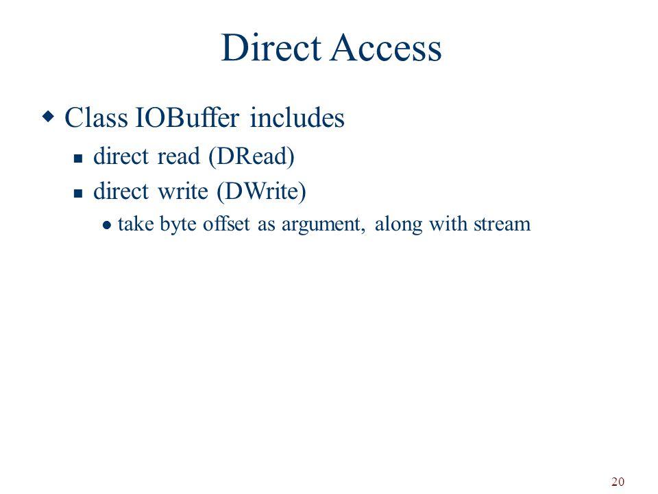 Direct Access Class IOBuffer includes direct read (DRead)